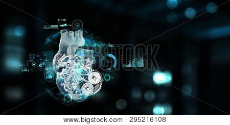 Anatomic heart made with steel gears and mechanic parts