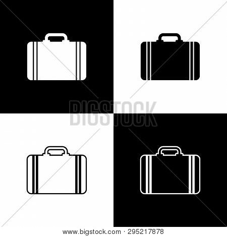 Set Suitcase For Travel Icons Isolated On Black And White Background. Traveling Baggage Sign. Travel