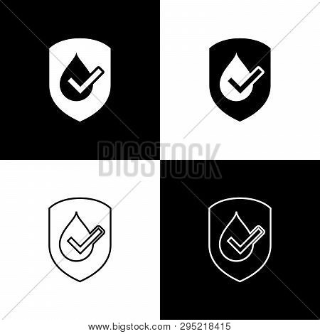 Set Waterproof Icons Isolated On Black And White Background. Water Resistant Or Liquid Protection Co