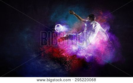 Soccer player in action. Mixed media