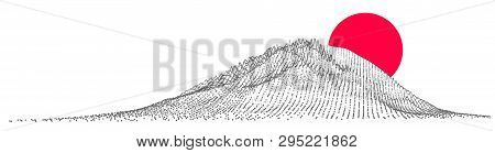 Fuji Japanese Mountain Minimal Color Vector Background. Fuji World Famous Tourist Attraction Pointil