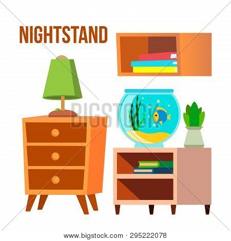 Nightstand, Bedside Tables, Desks Cartoon Vector Set. Nightstand, Shelf With Books Isolated Clipart.