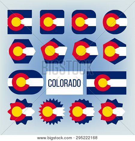 Colorado State Various Shapes Vector Flags Set. Colorado Official Emblems Icons Collection. Circle,