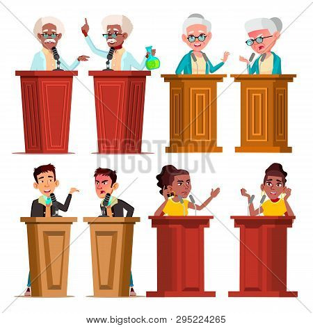 Politicians, Speakers, Tutors Cartoon Vector Characters Set. Speakers Giving Speech, Presentation Is