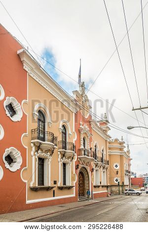 Guatemala City,guatemala - March 2,2019 - View At The Museum Building In The Streets Of Guatemala Ci