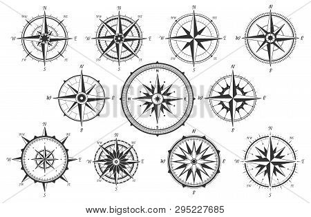 Wind Rose. Map Directions Vintage Compass. Ancient Marine Wind Measure Vector Icons Isolated. Isolat