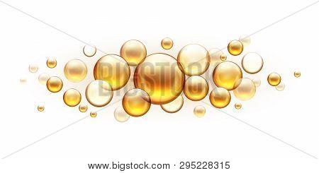 Golden Oil Bubbles. Cosmetic Collagen Serum, Castor Argan Jojoba Essence Vector Realistic Template I