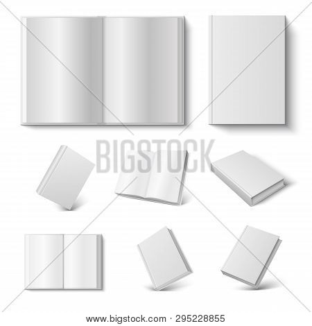 Realistic Book. 3d Mock Up Open And Closed Diary With Blank Hard Cover On White Background. Vector I