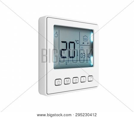 Digital Programmable Thermostat Isolated On White Background 3d Render Without Shadow