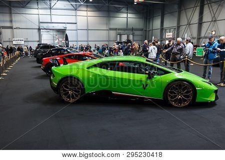 Prague, Czech Republic - April 13th 2019: Green Lamborghini Aventador At Autoshow Pva Expo Praha Let