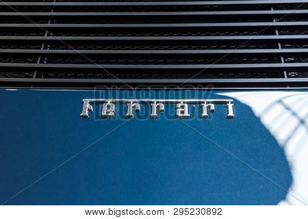 Prague, Czech Republic - April 13th 2019: Ferrari Logo At Autoshow Pva Expo Praha Letnany 2019.
