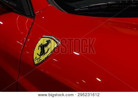 Prague, Czech Republic - April 13th 2019: Yellow Ferrari Logo At Autoshow Pva Expo Praha Letnany 201