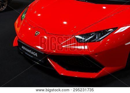 Prague, Czech Republic - April 13th 2019: Red Lamborghini Aventador At Autoshow Pva Expo Praha Letna