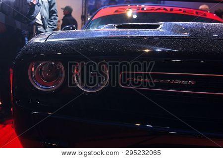 Prague, Czech Republic - April 13th 2019: Black Dodge Challenger At Autoshow Pva Expo Praha Letnany