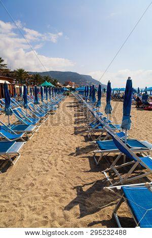 View Of Sandy Beach Of Pietra Ligure In The Province Of La Savona