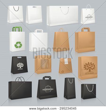 Set Of Mockup Realistic Square Paper Bag, Festive Boxing.