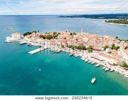 Croatian Town Of Porec, Shore Of Blue Azure Turquoise Adriatic Sea, Istrian Peninsula, Croatia. Bell