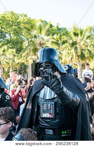 Malaga, Spain - May 05, 2018. Member Of The 501st Legion Spanish Garrison Dressed As Darth Vader Fro