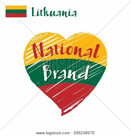 Vector Flag Heart Of Lithuania, National Brand. Lithuania Flag In Shape Of Heart, Pencil Strokes Dra