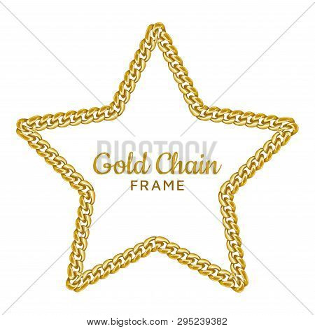Gold Chain Star Border Frame. Wreath Starry Shape. Jewelry Accessory. Realistic Vector Illustration