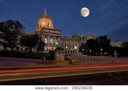 Harrisburg, Pennsylvania - October 22, 2018: Pennsylvania State Capitol, The Seat Of Government For