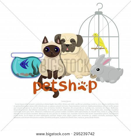Pet Shop Logo Template With Canary, Pug, Fish, Rabbit And Siamese Cat Vector