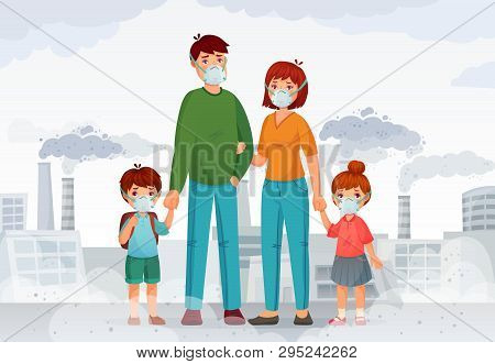 Family protection from contaminated air. People in protective N95 face masks, industry smoke and safe mask vector illustration poster