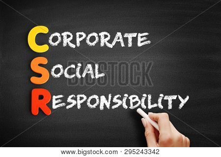 Color Wooden Alphabets Building The Word Csr - Corporate Social Responsibility Acronym On Blackboard