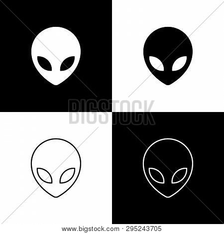 Set Alien Icons Isolated On Black And White Background. Extraterrestrial Alien Face Or Head Symbol.