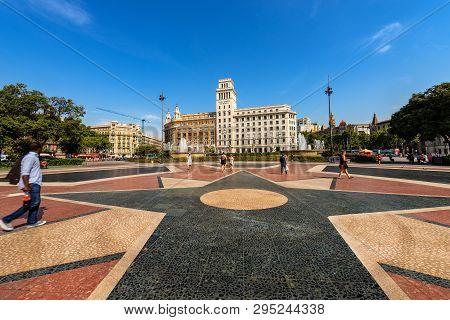 Barcelona, Spain - June 12, 2014: Placa De Catalunya Or Plaza De Cataluna. Catalonia Square In Downt