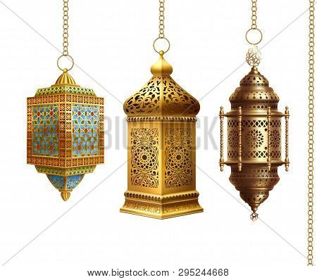 Set Of Traditional Arabian Lanterns On White Background. Eps 10 Contains Transparency.
