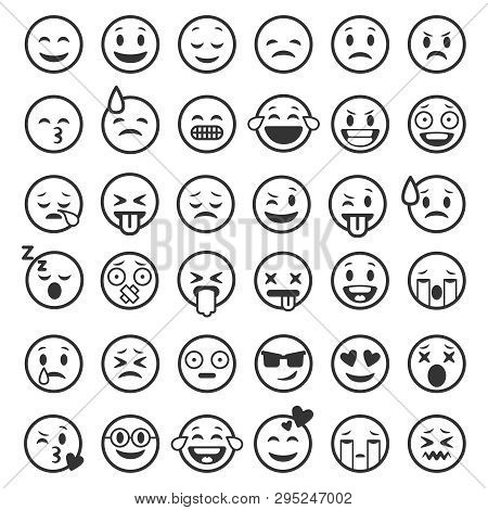 Emoticons Outline. Emoji Faces Emoticon Funny Smile Line Black Icons Expression Smiley Facial People