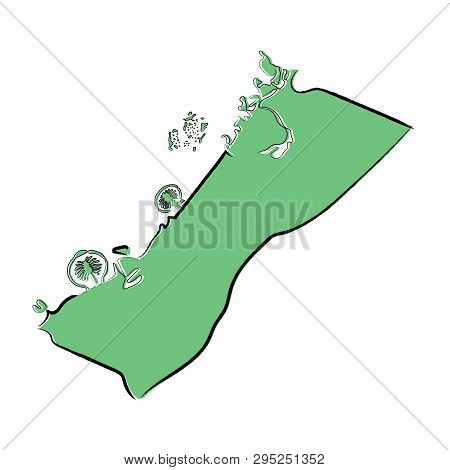 Sketch Green Map Of Dubai, United Arab Emirates