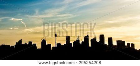 Sydney City Skyscrapers Outline Silhouette Panorama View, Sydney, Australia