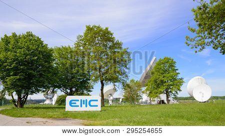 Raisting, Germany - May 21, 2016: Emc Gmbh Telecommunications Company In Raisting Satellite Ground S