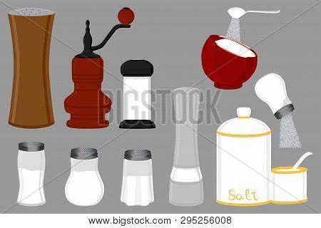 Illustration On Theme Big Set Different Types Glassware Filled Salt, Mill Various Size. Salt Pattern