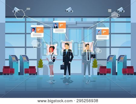 Happy People Standing Financial Department With Atm Cash Machines Identification Surveillance Cctv F