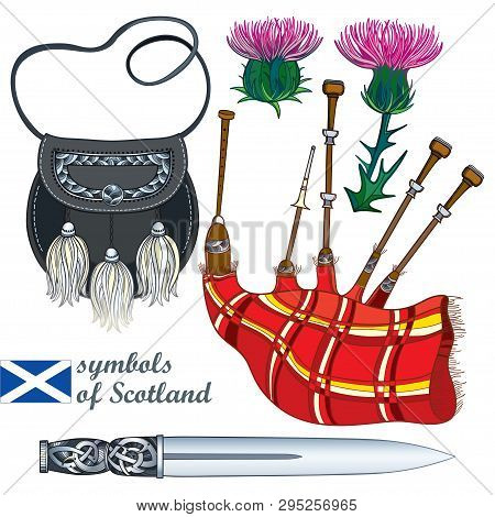 Vector Set Of Outline Scottish Symbols: Long Silver Dagger Or Dirk, Red Bagpipe, Black Sporran And P