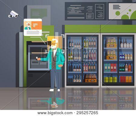 Senior Man Withdrawing Money Atm Cash Machine Identification Surveillance Cctv Facial Recognition Co