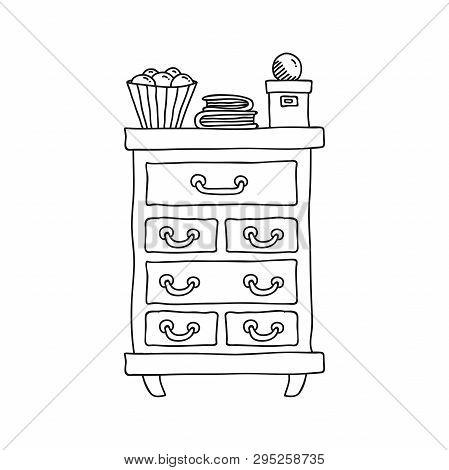 Bureau coomode doodle line furniture vector illustration poster