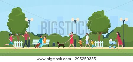People In Park. Persons Leisure And Sport Activities Outdoor. Cartoon Family And Kids Characters In