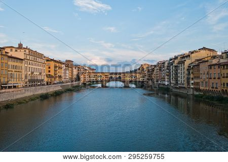 Ponte Vecchio bridge and architecture along river Arno in Florence, Tuscany, Italy poster