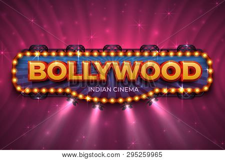 Bollywood Background. Indian Cinema Poster With Text And Spot Light, Indian Cinematography Stage. Ve