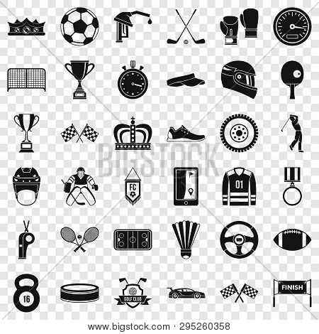 Champion icons set. Simple style of 36 champion icons for web for any design poster
