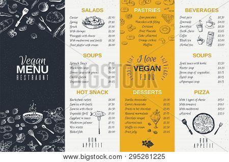 Hand Drawn Restaurant Menu. Food Cooking Vintage Template, Doodle Breakfast And Diner Cafe Flyer. Ve