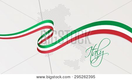 Vector Illustration Of Abstract Radial Dotted Halftone Map Of Italy And Wavy Ribbon With Italian Nat