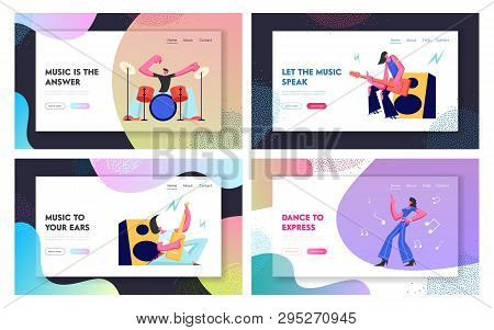 Set Rock Music Players And Girl Dancer. Musical Hobby And Occupation. Guitarist, Drummer And Dancer