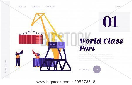 Sea Transportation And Logistic Infographics. Seaport Harbour Lift Crane Loading Container And Sea P