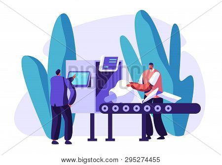 Engineers Male Characters Set Up Parts Of Robot On Conveyor Belt. Artificial Intelligence Develop An