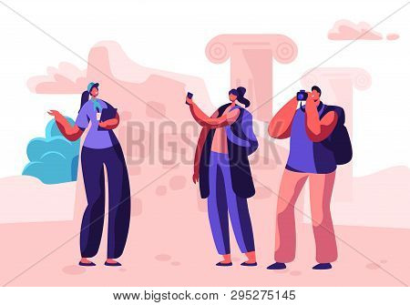 Male And Female Tourist Characters Visit Sightseeing With Guide Making Pictures On Photo Camera. For